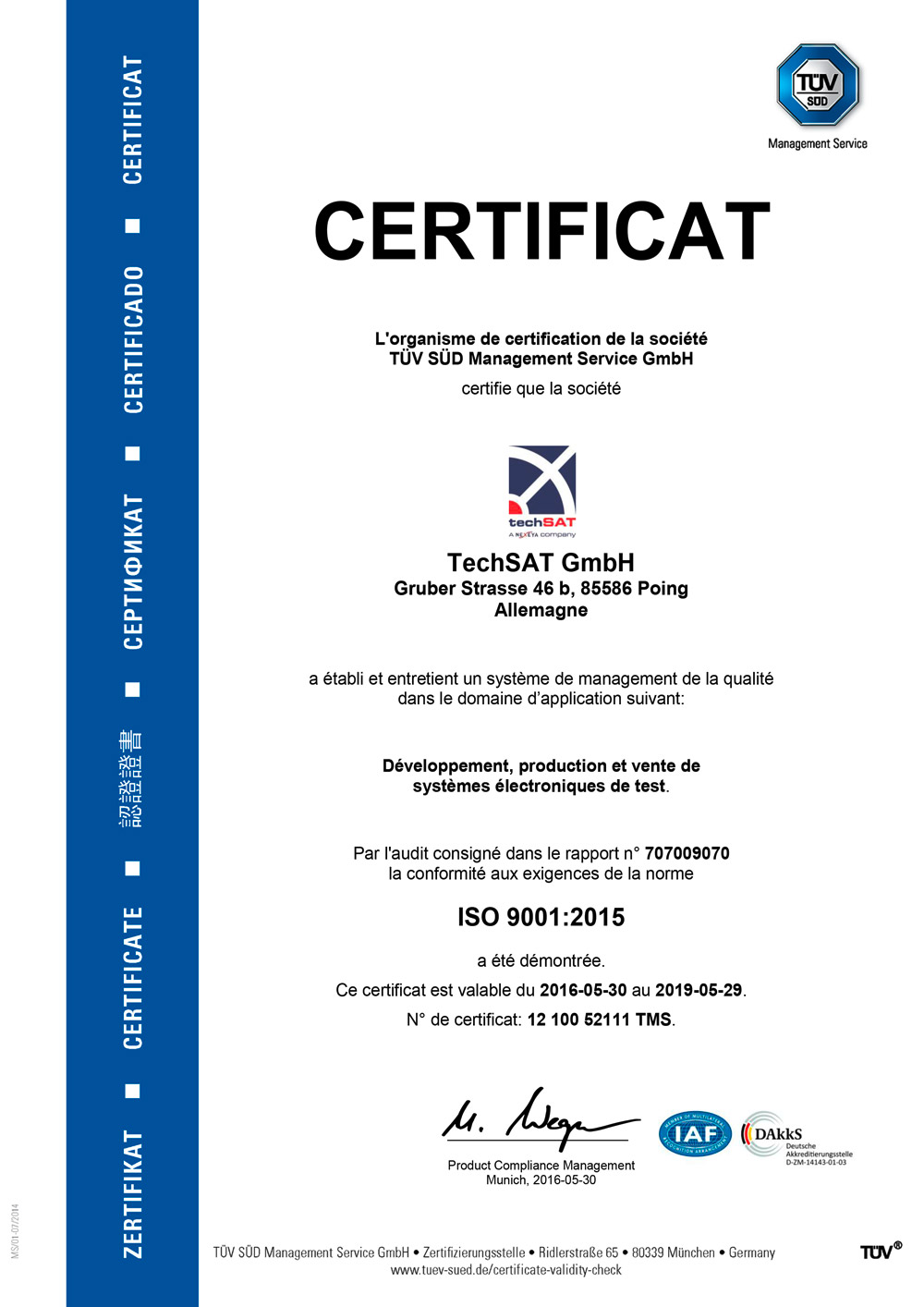 ISO 9001 Certificate French